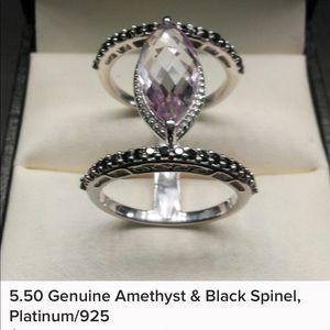 5.50 Genuine Amethyst & Black Spinel Platinum/925